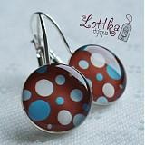 Náušnice - Retro čokoládové s puntíky - 1826494