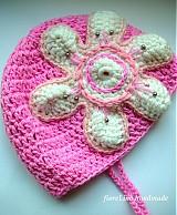 Detské čiapky - dievčenská čiapka s kvetinkou - 1835571