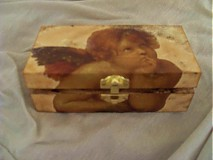 Krabičky - Drevená krabička s anjelikom - 1853151