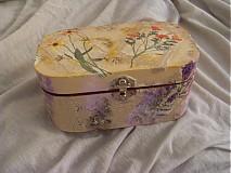 Krabičky - Drevená krabička s kvetmi - 1853471