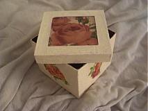 Krabičky - Papierová krabička s ružou - 1855594