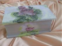 Krabičky - Drevená krabička s motívom ruže - 1887954