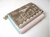 Peňaženky - Andělínčina v barvách růže - zipová i na karty :-) - 1903506