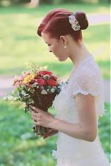 Ozdoby do vlasov - Hrebienok s vintage kvetmi – ružový - 1912104