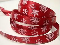 Galantéria - 19501 Stuha vianočná červená vločky, bal. 3m - 1927964
