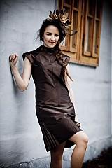 """Šaty - SUCHÝ: Hnedo-čierne kokteilové šaty z kolekcie """"FOLK LOVE"""" - 1930316"""