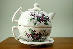 Čajník so šálkou veľký - fialky