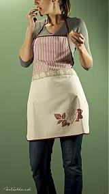 - Kuchynská zástera bordová s ružou, hrubý pásik (003) - 1939709