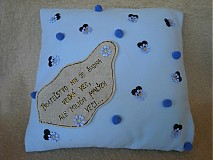 Úžitkový textil - Vankúš modrý Priateľstvo... /skladom - 1950071