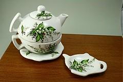 Čajník so šálkou veľký - konvalinky