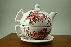 Čajník so šálkou veľký - ružové nezábudky