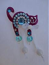 Odznaky/Brošne - Brošnička mačička ružovo-tyrkysová :) - 1975073