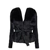 Kabáty - Kožušinový čierny kabátik s dlhším vlasom - 1977416