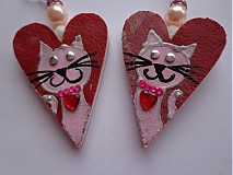 Náušnice - Náušničky srdiečkové s mačičkou :) - 1989321