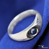 Prstene - Blueli - Zásnubní Damasteel prsten a safír - 2008444
