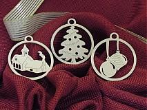 Dekorácie - Vianočné ozdoby - Kostolík, stromček, vianočné gule (O5) - 2010698