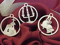Vianočné ozdoby - kostol, svietnik, zvončeky (O1)