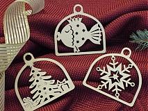 Set vianočných ozdôb - Rybka, stromček, vločka (D5)