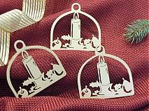 Dekorácie - Set vianočných ozdôb - Tri svičky (D14) - 2019699