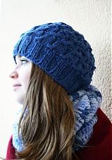 - Čepice s přetahovaným vzorem-modrá - 2037568