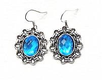 Náušnice - modré kryštáliky - 2041361