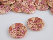Galantéria - gombík drevený Kvet stredný, ružový sloník (o: - 2058661