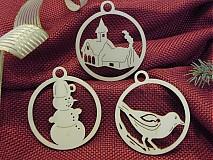 Vianočné ozdoby - Vtáčik, snehuliak, kostolík (O3)