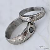 Prstene - Siona white - Zásnubní prsten damasteel a diamant 2,70 mm - 2073992