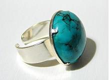 Prstene - Kabašon tyrkysu v striebre - 2079047