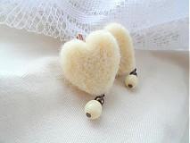 Náušnice - Srdcia bielych ovečiek - 2083325