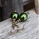 Náušnice - Zelené perličky - 2098739