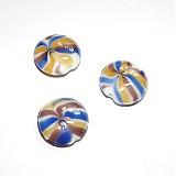 Korálky - 0207 Vinutka plochá okrúhla 25 mm, žlto-modro-fialová, 1 ks - 211096