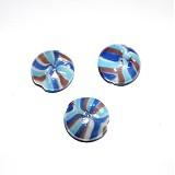 Korálky - 0222 Vinutka plochá okrúhla 25 mm, bielo-modro-fialová, 1 ks - 211105