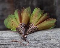 Náušnice - Tanečnice zeleno-medené - 2134655