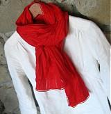 Šatky - červeno červený šál SKLADOM - 2151233