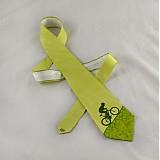 - Hedvábná kravata s cyklistou světle zelená - 2172155