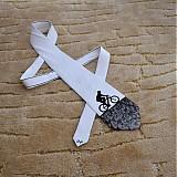 - Hedvábná kravata s cyklistou černo-bílá - 2172159