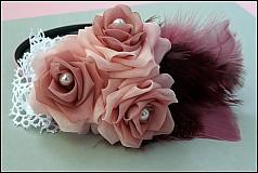 Ozdoby do vlasov - ružová s pierkami - 2173664