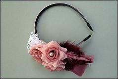 Ozdoby do vlasov - ružová s pierkami - 2173667
