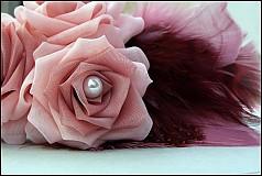 Ozdoby do vlasov - ružová s pierkami - 2173671