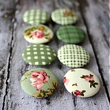 Vintage green buttons 32 mm