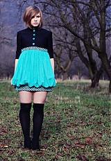 Šaty - Jesenná tyrkysová bublinka   - 224050