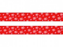 Galantéria - V zľave z 0,46€ /Stuha rypsová 18mm Kvety True Red - 2246530