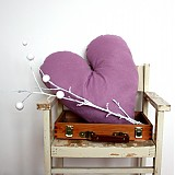 Úžitkový textil - Fialky - recy svetríkové srdce SKLADOM - 2248459