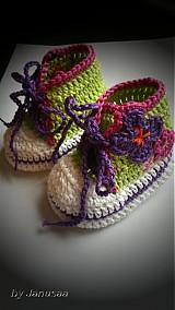 Topánočky - Háčkované tenisky - jarné v zelenom ... - 2254965