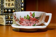 Šálka s podšálkou na čaj - ružové nezábudky