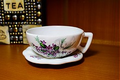 Nádoby - Šálka s podšálkou na čaj - fialky - 2256639