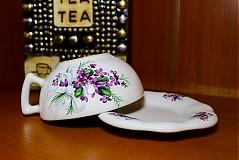 Nádoby - Šálka s podšálkou na čaj - fialky - 2256640