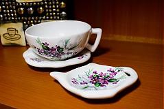 Nádoby - Šálka s podšálkou na čaj - fialky - 2256641