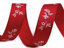 Galantéria - Stuha rypsová 17mm Kvetinka True Red - 2267806